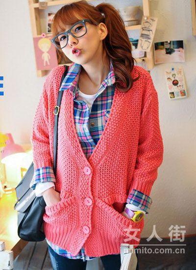 韩系甜美针织衫 回暖天穿为春装加分